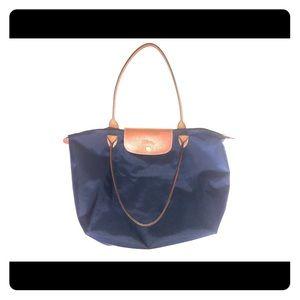 Blue and brown Longchamp shoulder bag